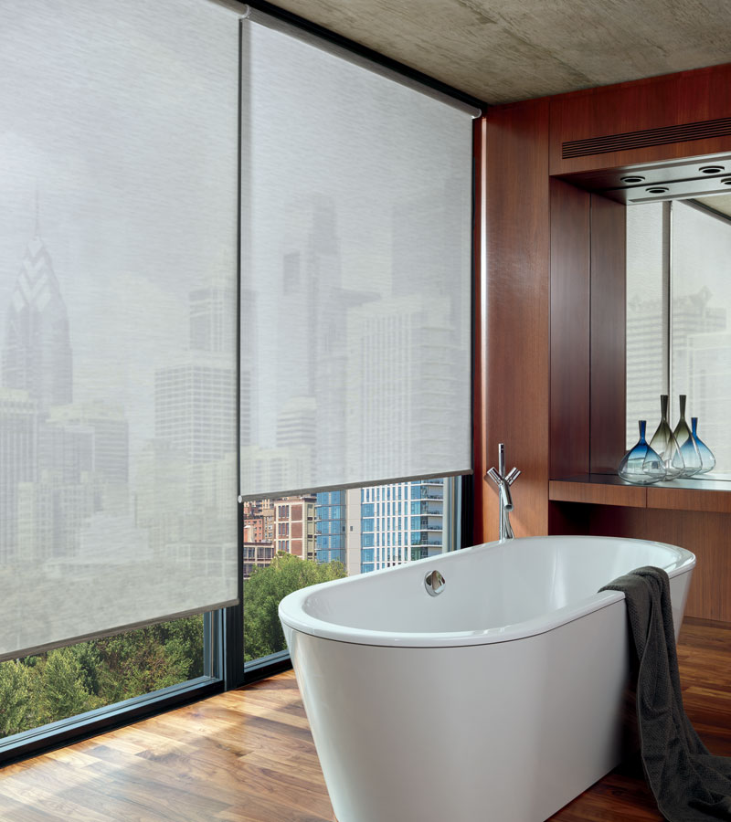 automated shades for floor to ceiling windows in Chicago IL bathroom
