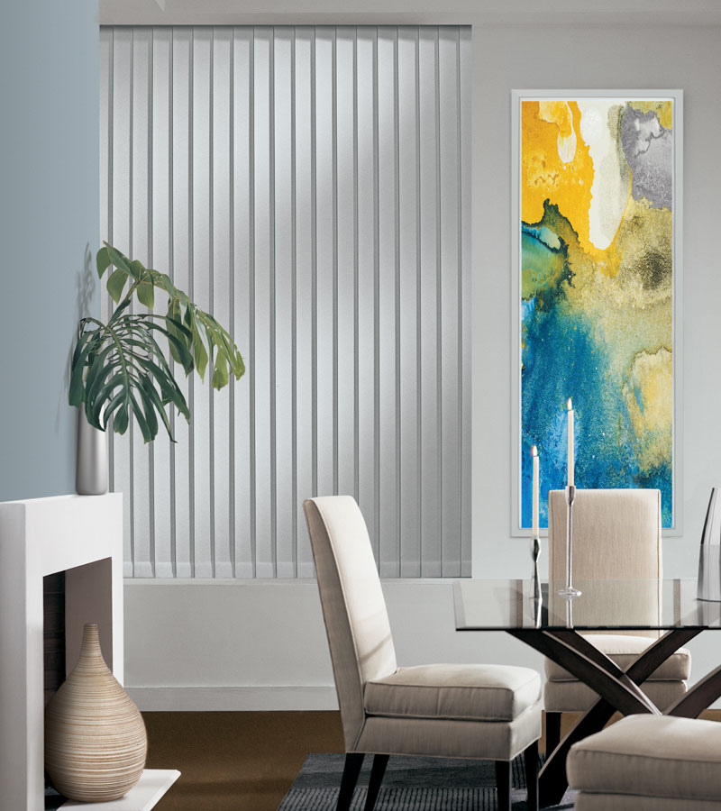 neutral dining room with gray vertical blinds in Chicago IL
