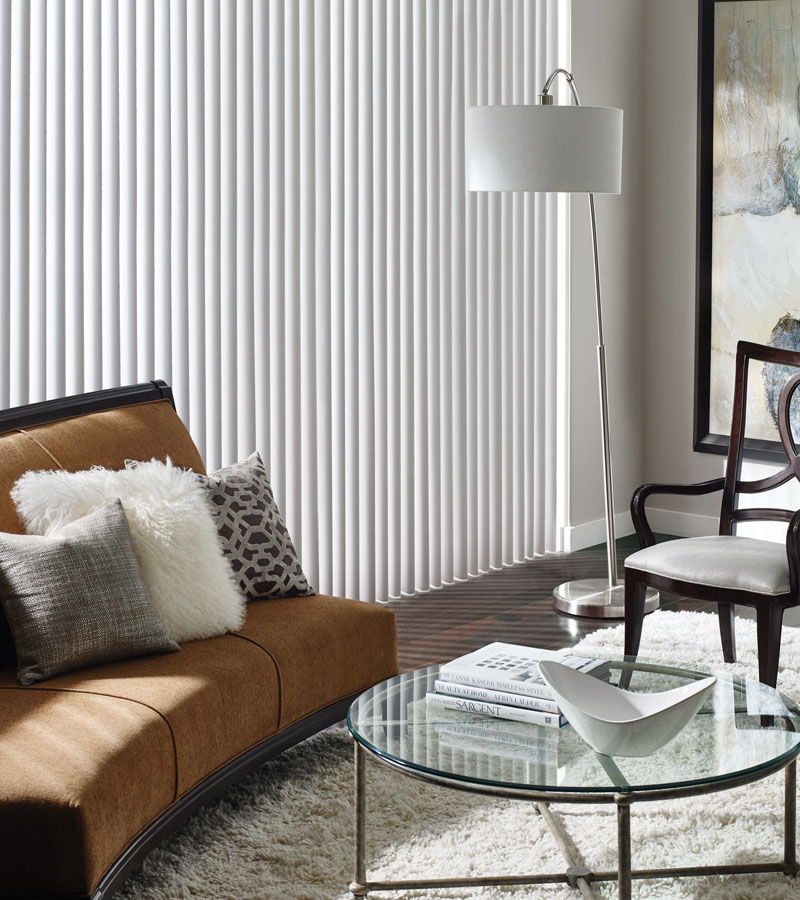vertical blinds for large window in living room of Naperville IL home