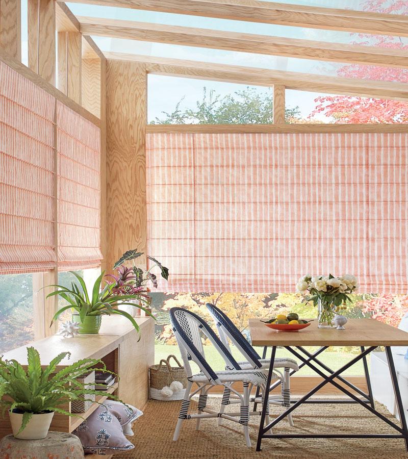 design studio window treatments fabric roman shades on sunroom Portland OR