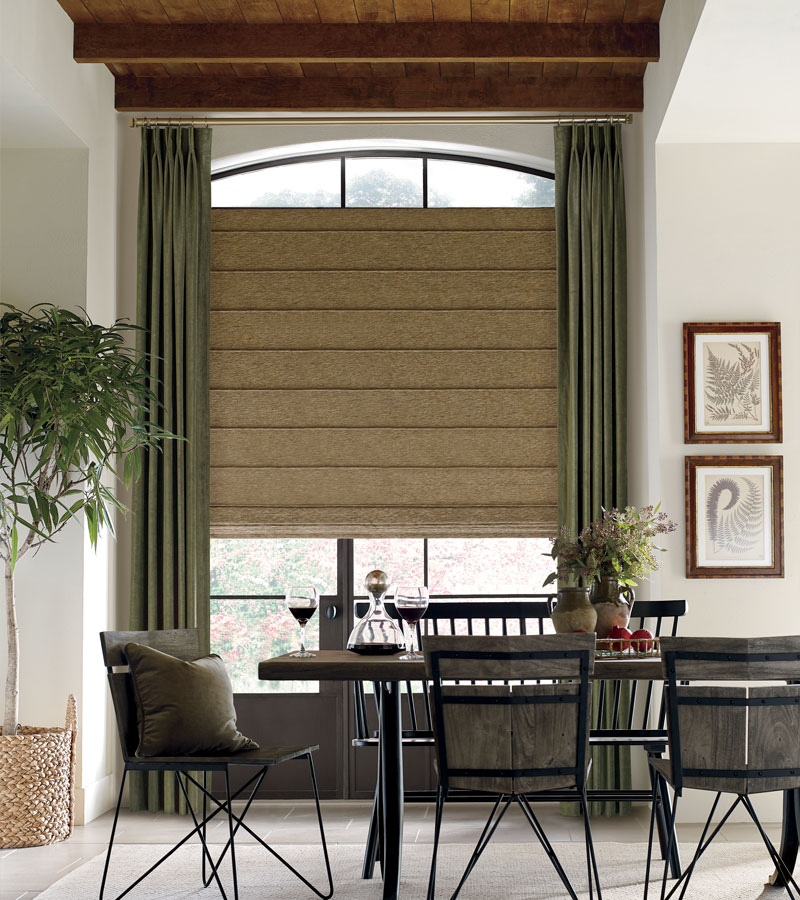 dining room with arched window fabric roman shades with olive green drapery Hinsdale IL