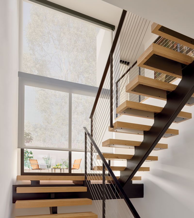 modern staircase with white screen shades in Vancouver WA