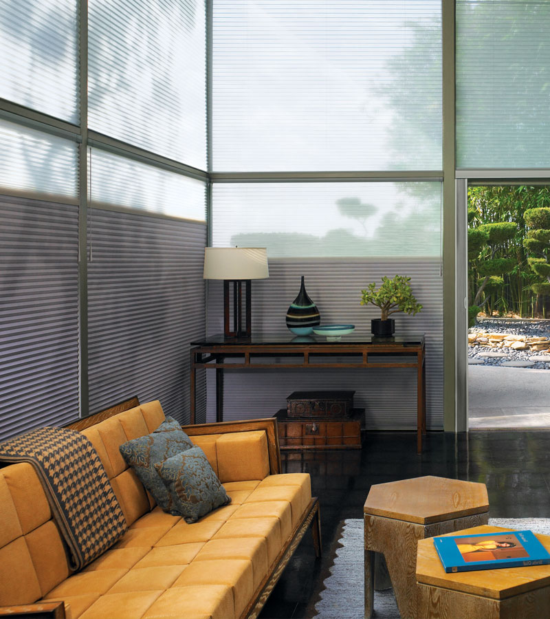 duette honeycomb shades on floor to ceiling large windows in Hinsdale IL