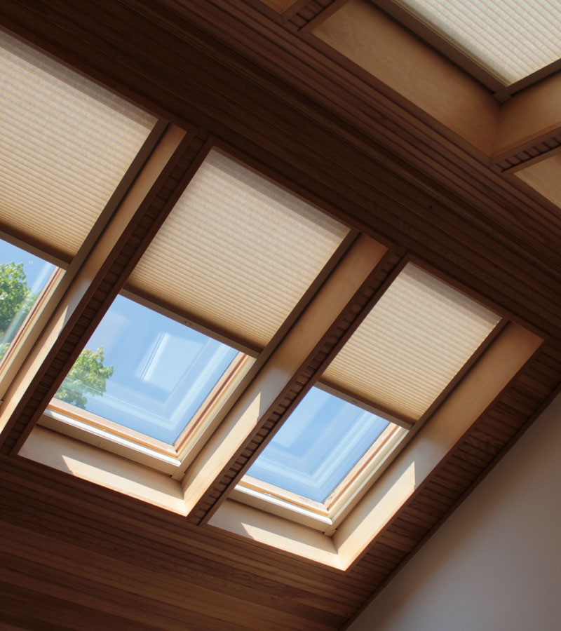 multiple skylights in Vancouver WA home covered with duette honeycomb shades