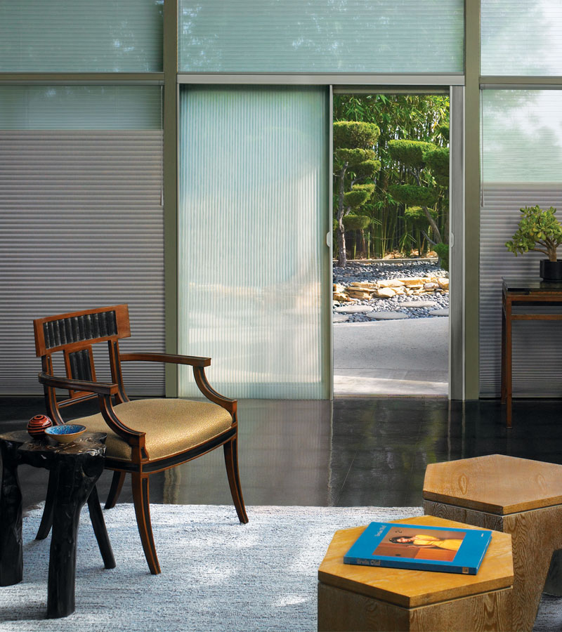gray dual shades on floor to ceiling windows with sheer vertical cellular shades on slider in Beaverton OR