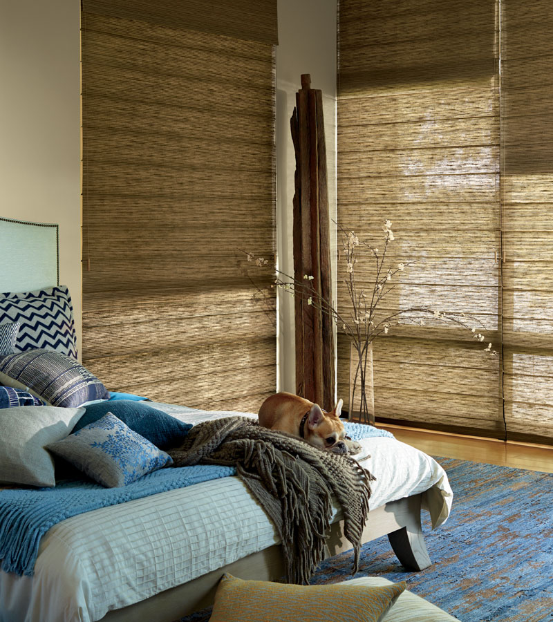 dual shades in bedroom for lighting and room darkening woven shades Chicago 60614