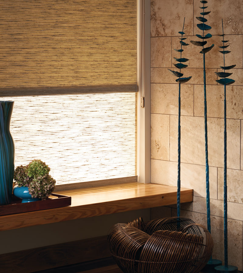 woven textured shades with dual roller shade for room darkening in Hinsdale IL