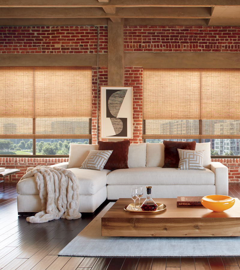 urban loft with exposed brick and woven wood shades with dual shade feature Naperville IL