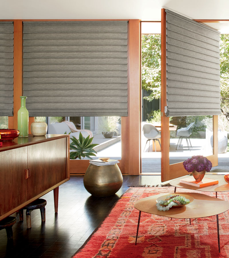 modern roman shades on rotating door in Chicago IL home