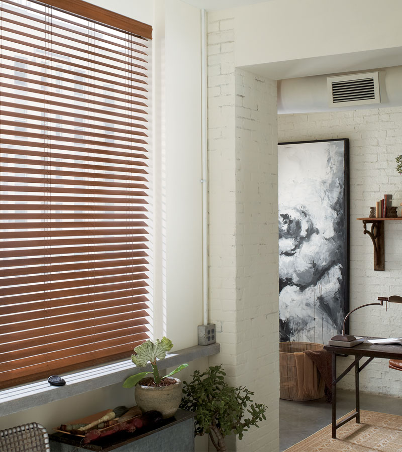 walnut faux wood blinds in hallway in Chicago IL