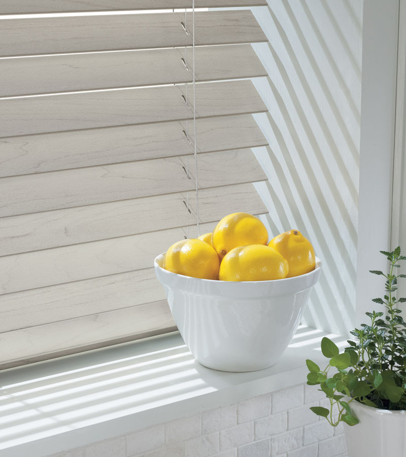 Neutral wood grain on faux wood blinds in Hinsdale IL