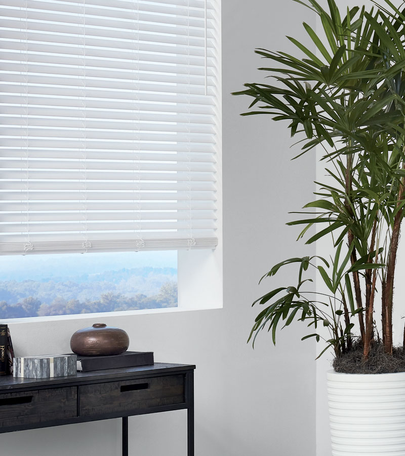 Vancouver WA home with white faux wood blinds