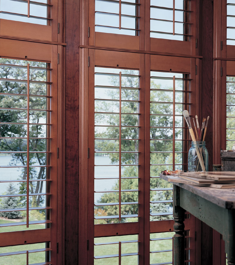large windows with wood grain shutters in Vancouver WA