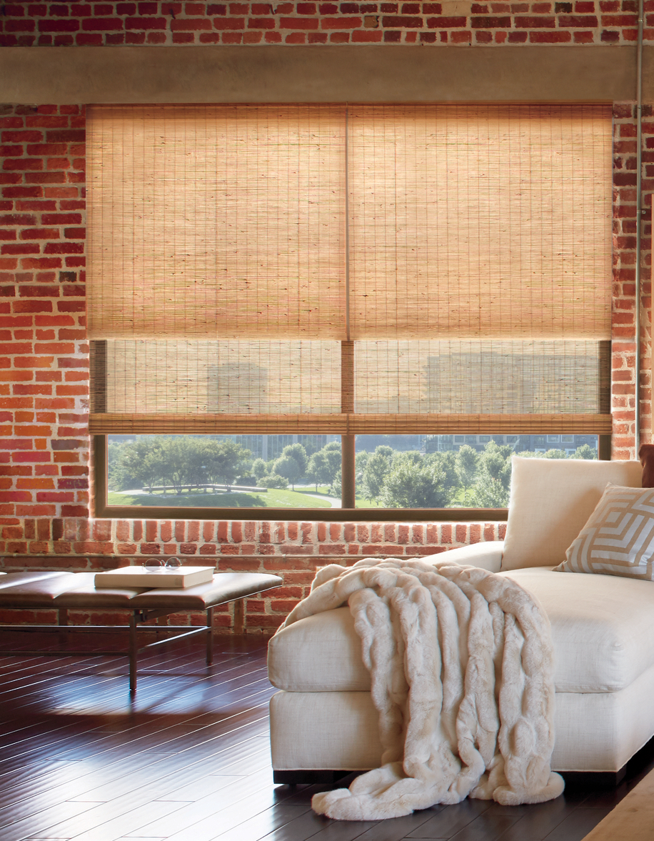 exposed brick walls with energy efficient woven wood shades dual shades Naperville IL