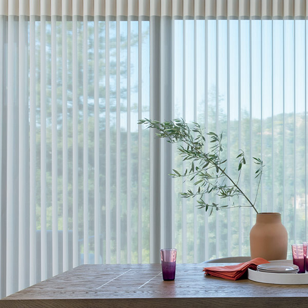 sheer vertical drapery shades in Vancouver WA home