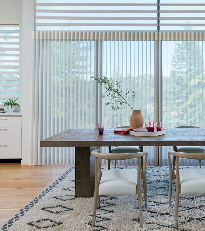sliding glass doors in Portland OR covered with sheer vertical shades