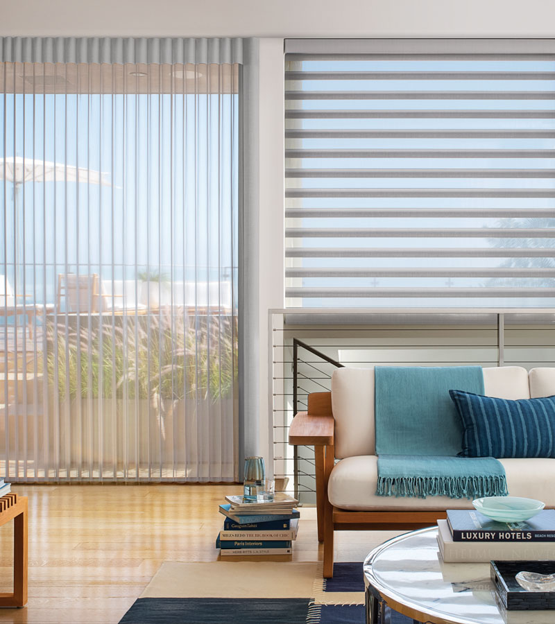 luminette privacy sheers vertical shades with matching pirouette shades in Chicago IL