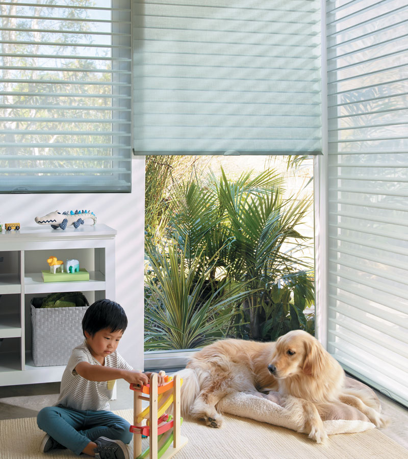 sheer shades in child's playroom for child safe operation Chicago IL