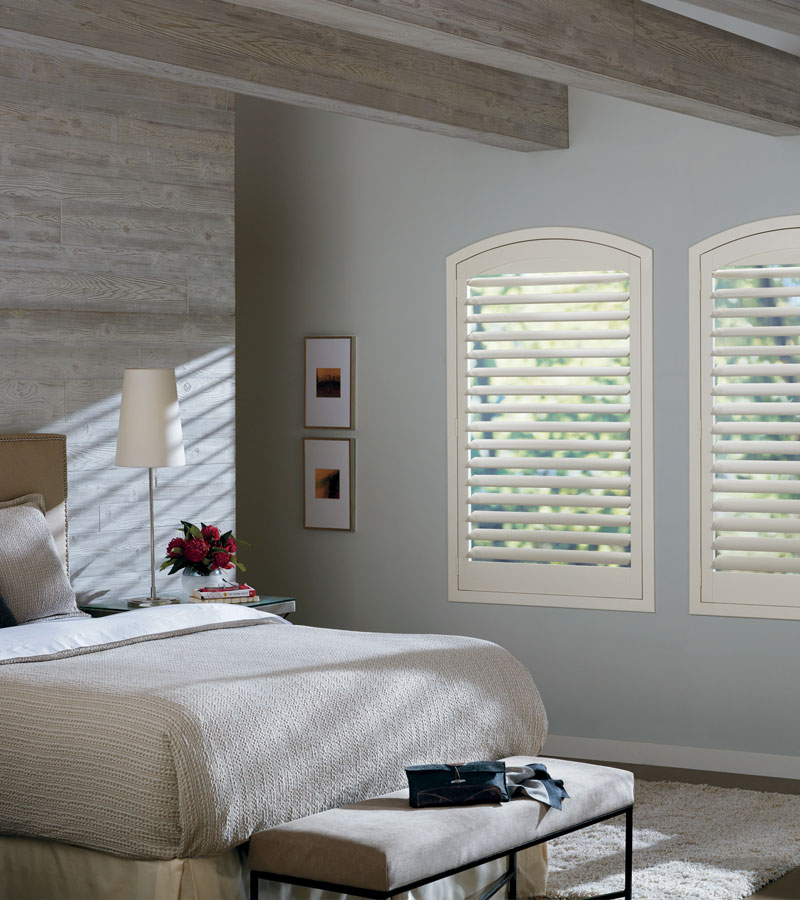 arched window shutters in Naperville IL bedroom