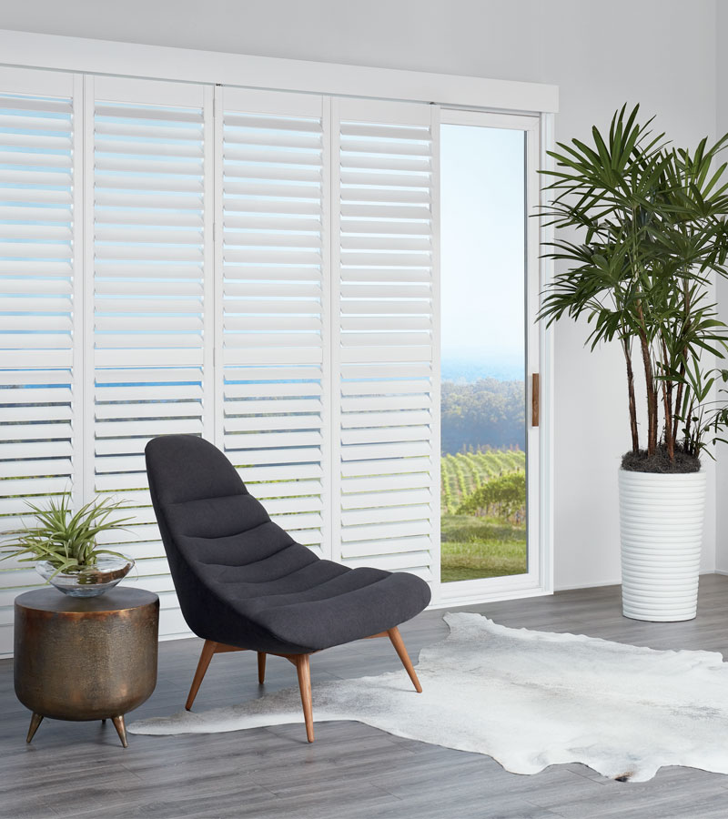 newstyle white shutters for sliding glass doors in Vancouver WA