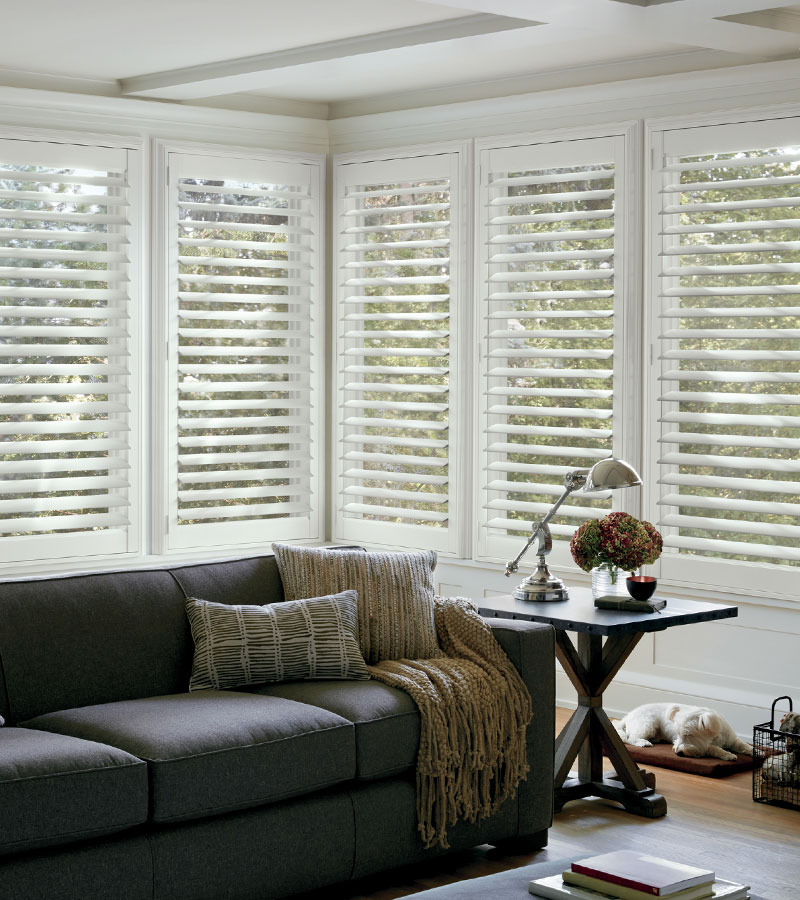 living room in Naperville IL with wall to wall interior shutters