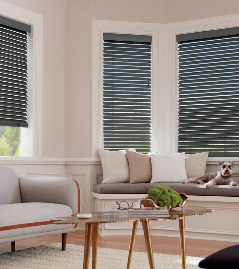 blue wood blinds in beige living room in bay window