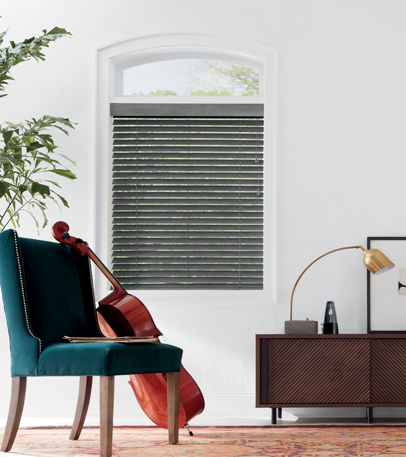 blue wood blinds in white music room in Vancouver WA