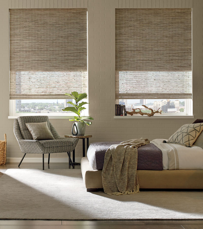 energy saving dual shades for woven wood shades in Portland OR