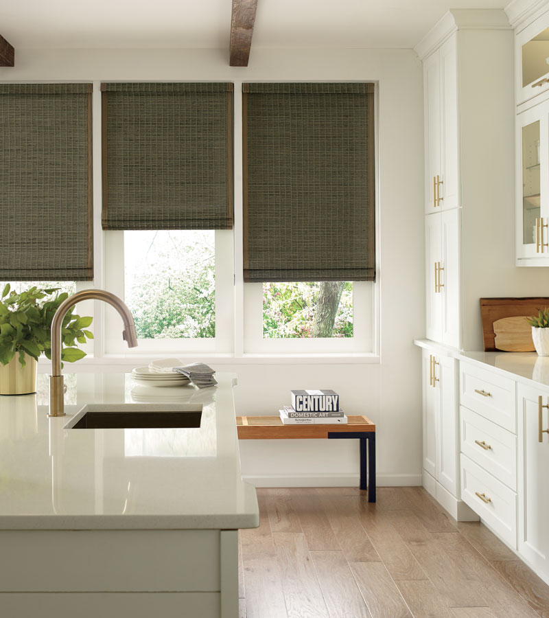 kitchen with grass woven shades three windows Beaverton OR