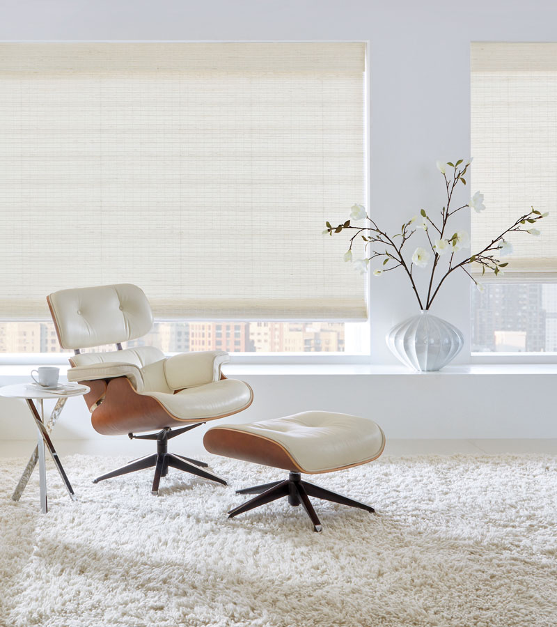 provenance woven woods in living room white on white color scheme Chicago IL