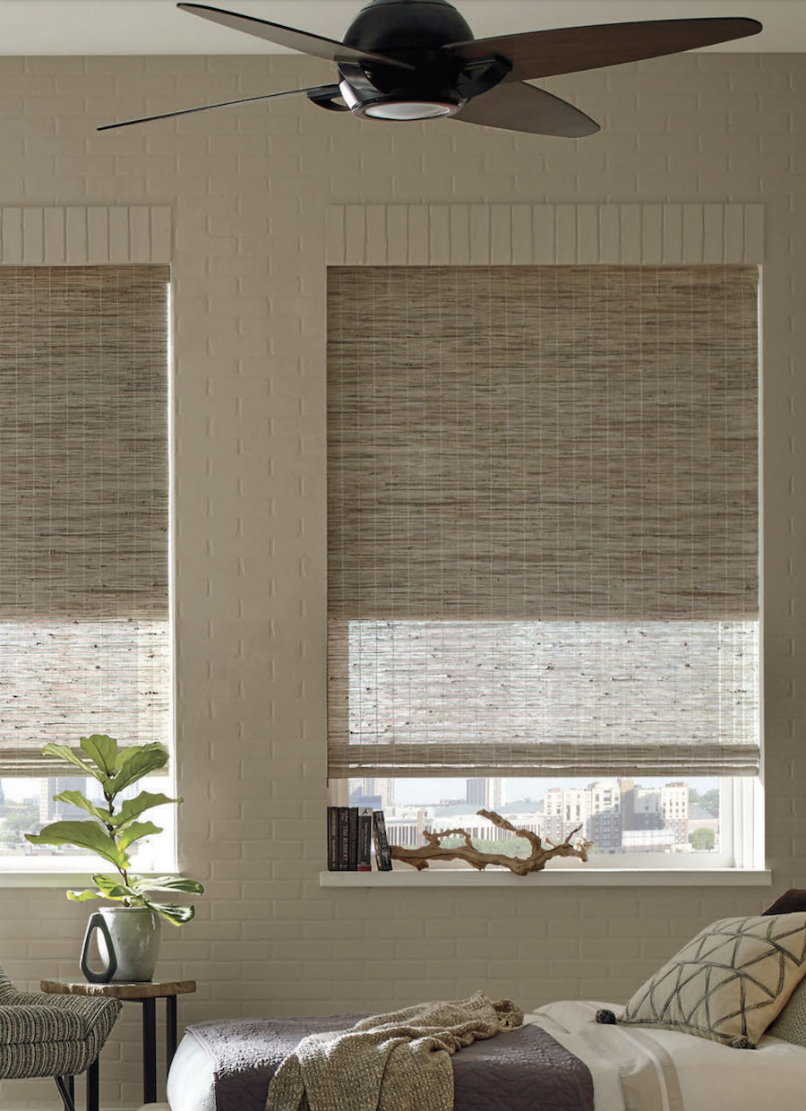 provenance woven wood shades with dual cellular shade Chicago 60614