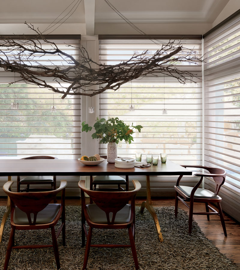 modern rustic dining room with silhouette shades in Vancouver WA