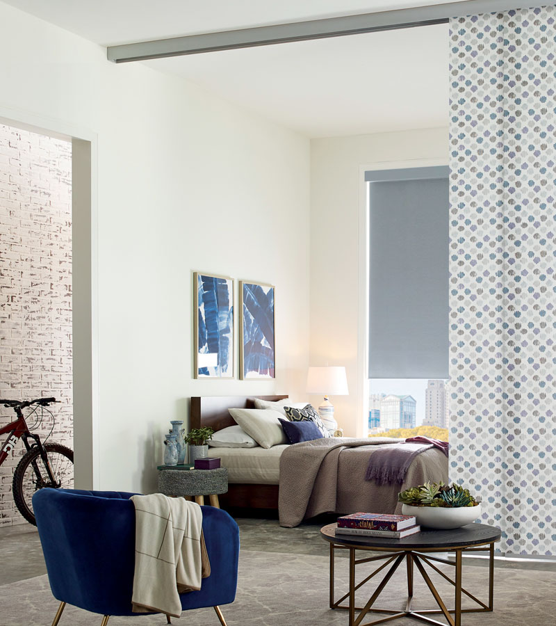 blue white peach polka dot fabric pattern for vertical shades used as room divider in Portland OR condo