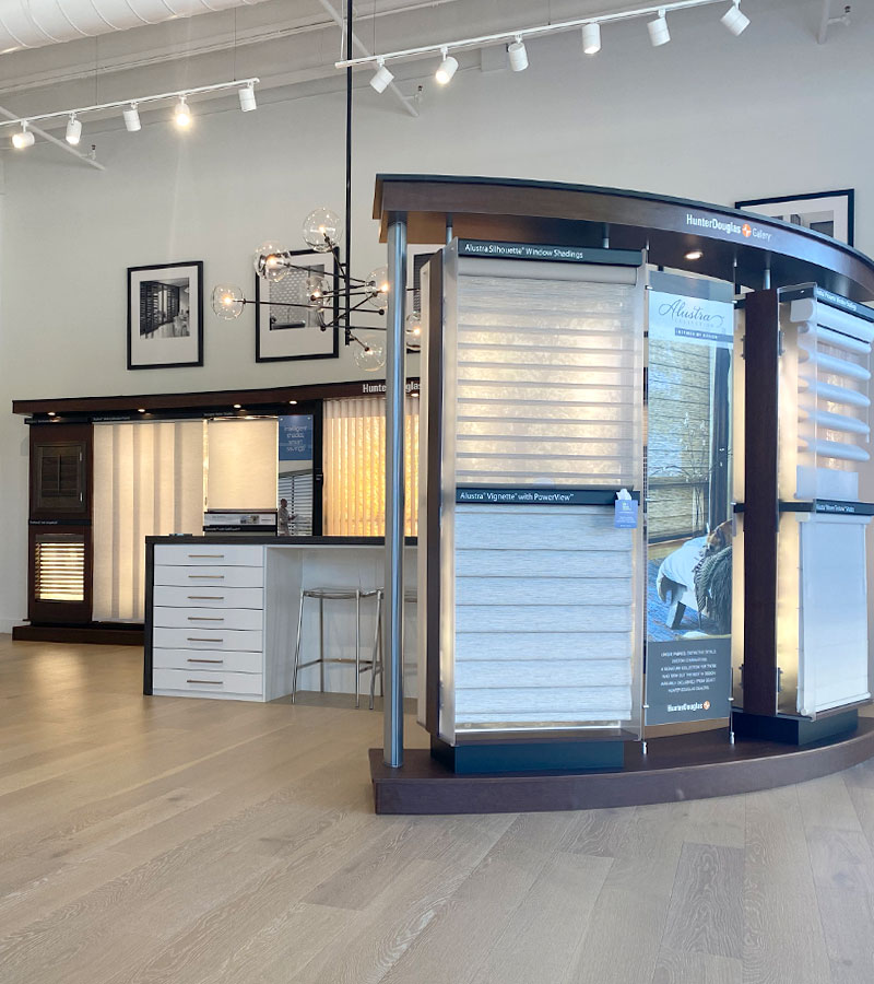 many window shades on display in gallery showroom roseville ca