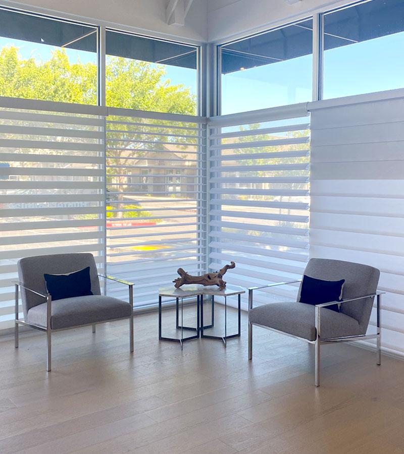 floor to ceiling window treatments in showroom in roseville ca
