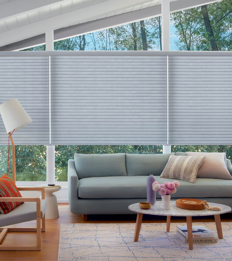 angled windows floor to ceiling windows with sonnette shades Naperville IL