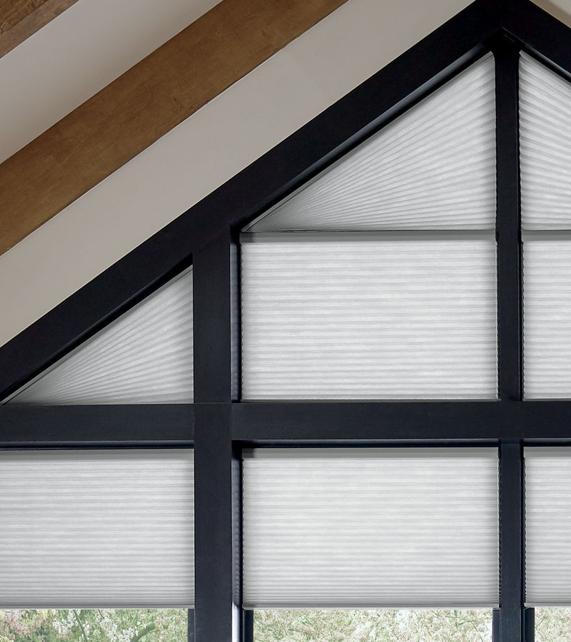angled windows with cellular shades in Naperville IL