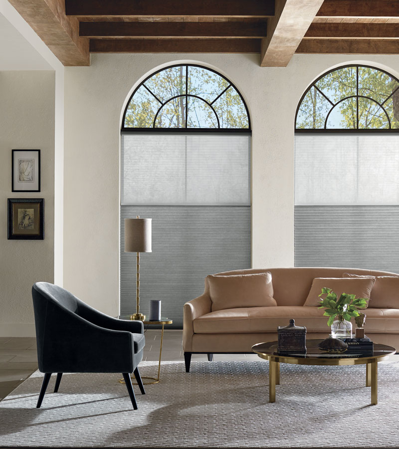 dual shade window treatments for arched windows in Portland OR