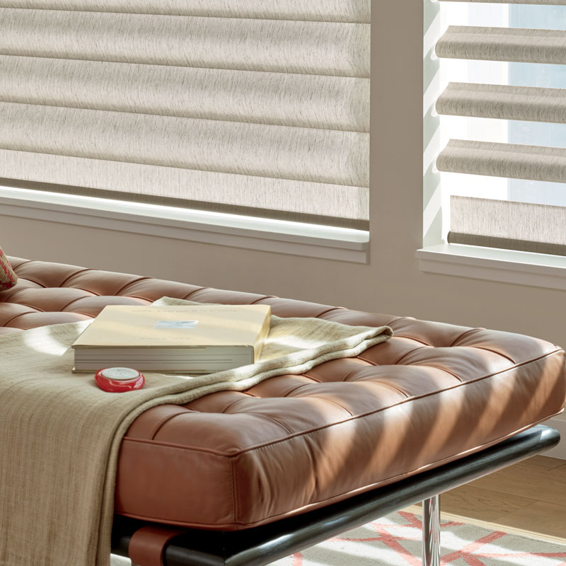 soft beige Pirouette smart shades with remote control in Vancouver WA