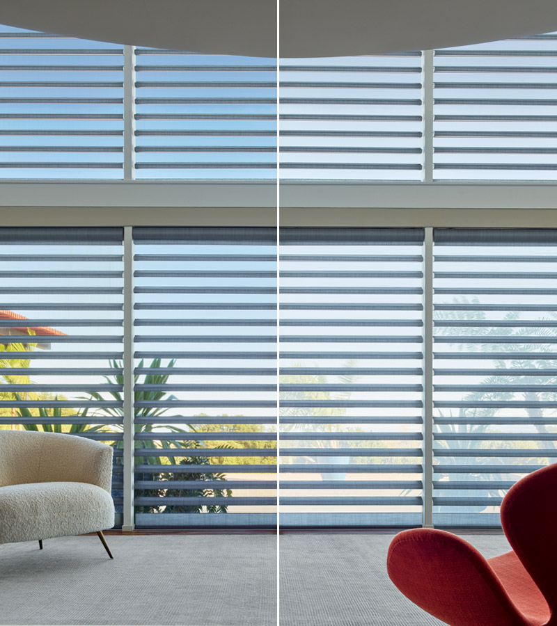 pirouette window shades sheer fabric comparison in living room Chicago 60611