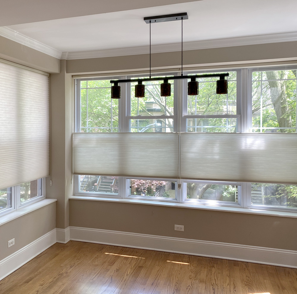 top down duette honeycomb shades in Chicago IL neighborhood