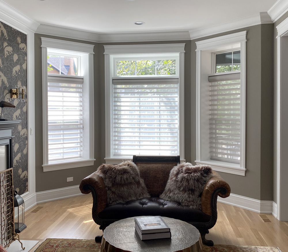 living room nook with sheer shades and open transom in Naperville IL