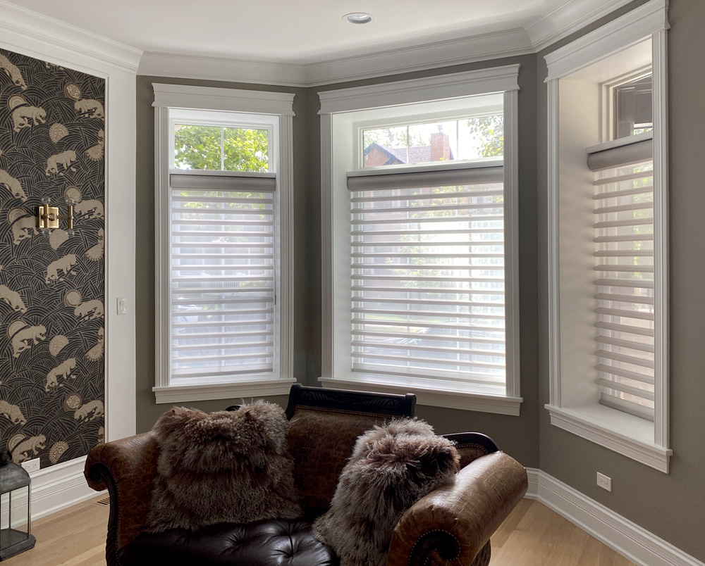 bay window nook with silhouette shades and open transom on top in Chicago 60657
