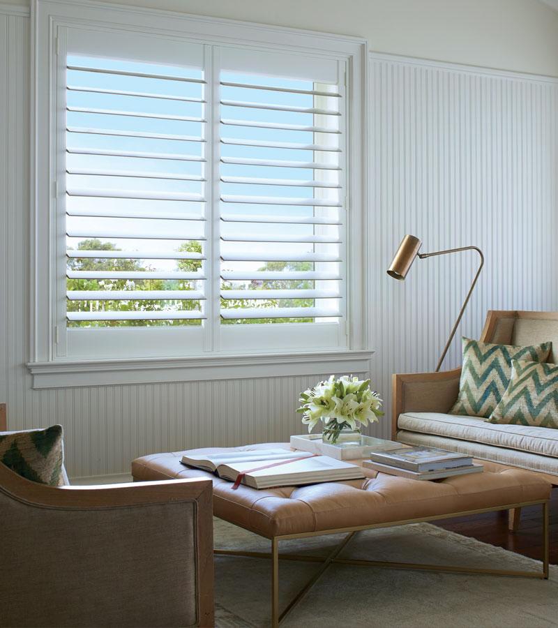 white interior window shutters in Chicago 60618