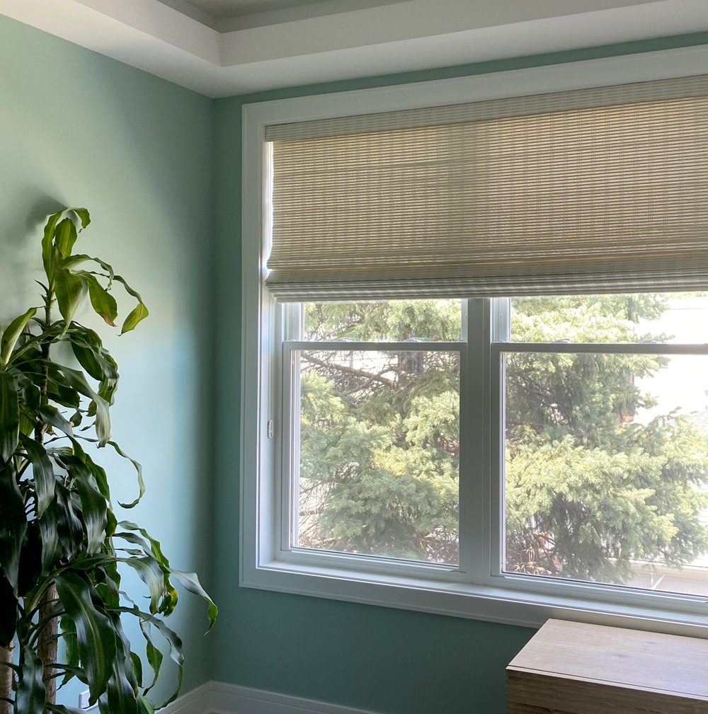 Provenance woven wood shades natural color with green walls Vancouver WA