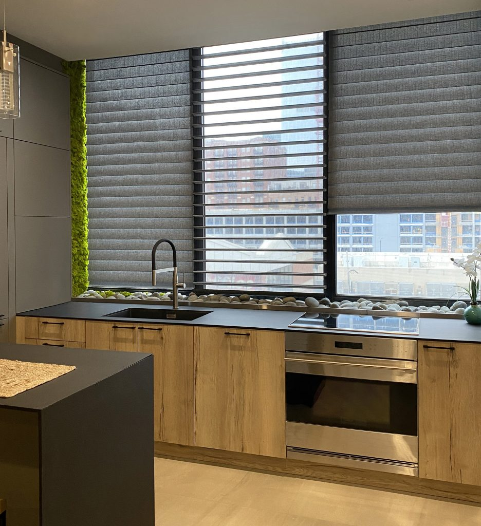 kitchen with silhouette shades moss wall feature Chicago IL