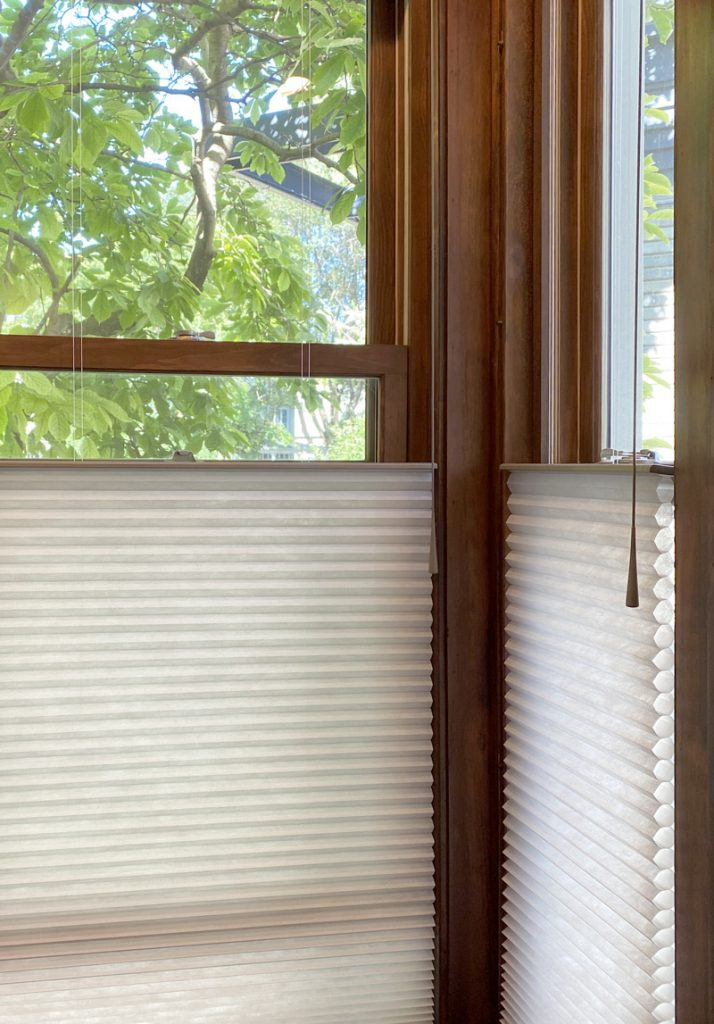 corner windows with cellular shades in Naperville IL