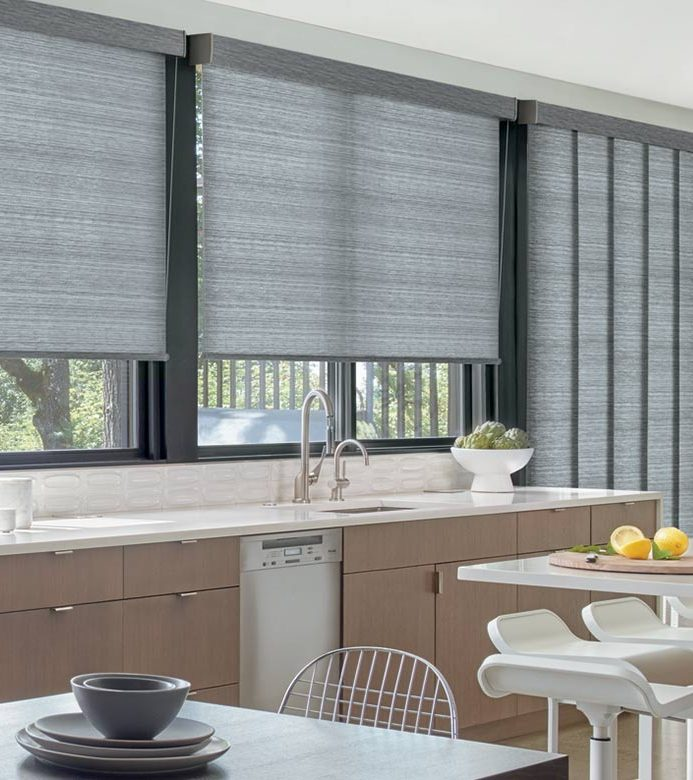 charcoal gray window coverings in kitchen with vertical shades on the glass doors in Vancouver WA