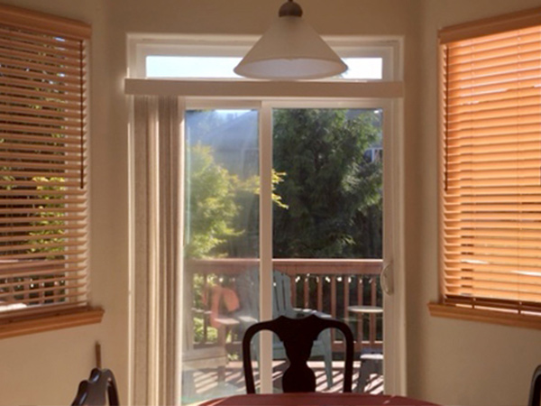 wooden blinds on dining area in kitchen in Portland OR