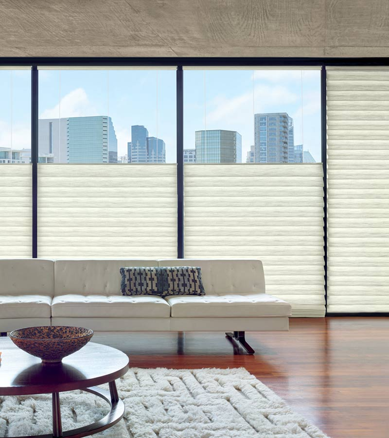 top down roman shades on floor to ceiling windows in Chicago IL